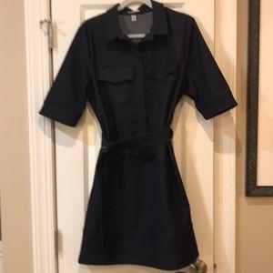 Black denim shirtwaist dress- belted - like new
